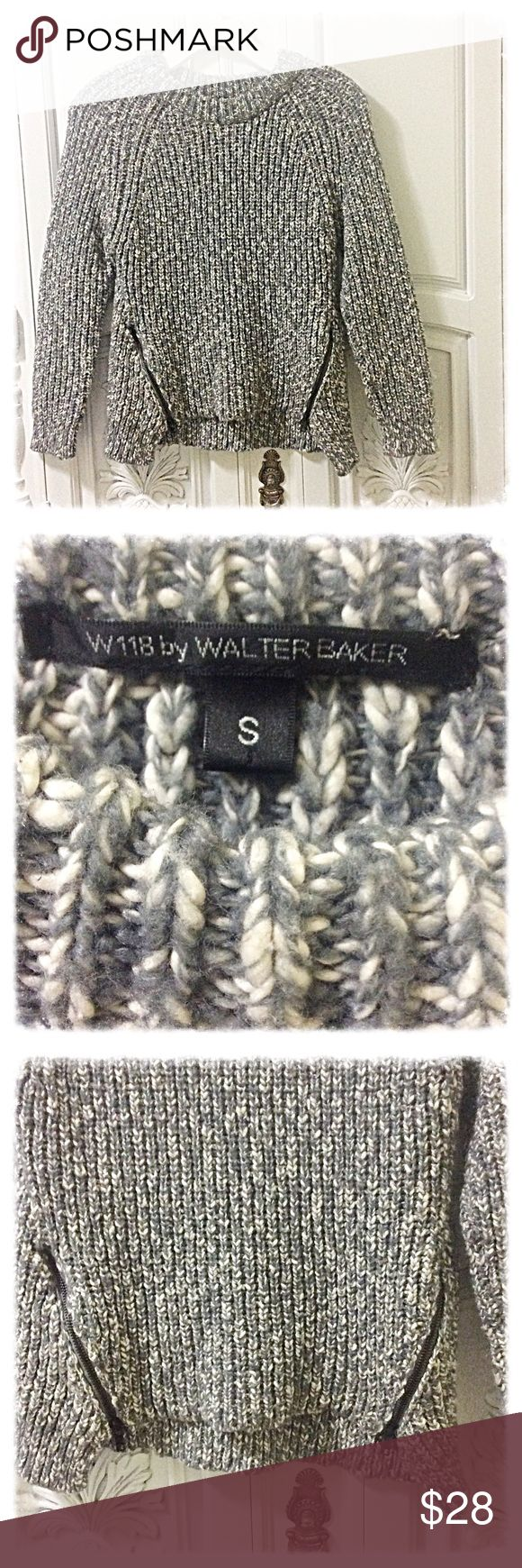 Walter Baker sweater Marbled grey Walter Baker sweater. Two zippers on hem of sweater. Approx 23 inches long from shoulder to hem. W118 by Walter Baker Sweaters