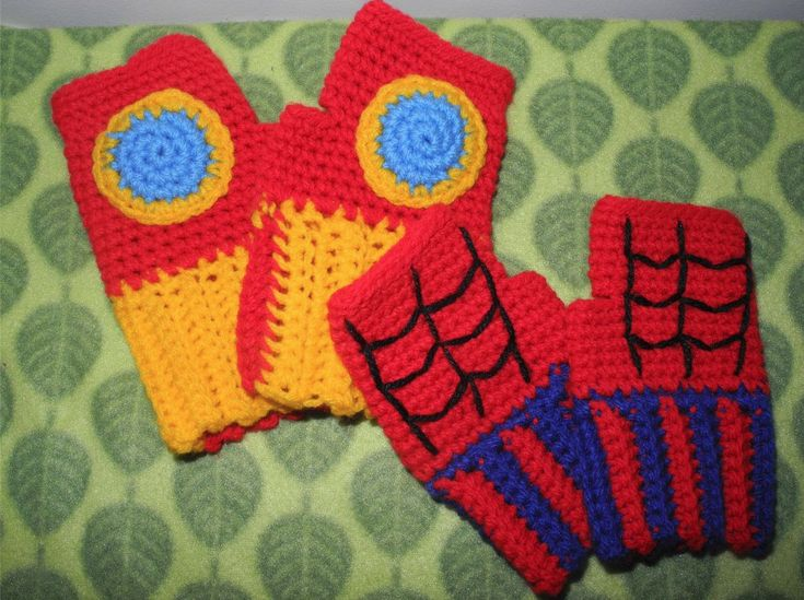 Can someone who crochets please make me this fingerless Iron Man mittens??? ...