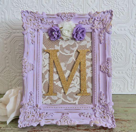 Purple Nursery Baby Girl Nursery Decor Framed Gold Letters Wall Letters Shabby Chic Nursery Decor