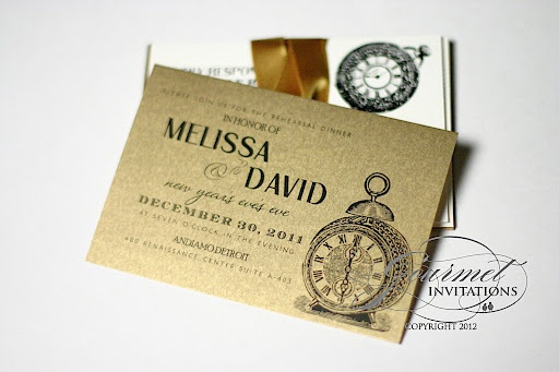 New Wedding Invitation Ideas: More Traditional Invite Look With Clock Imagery.