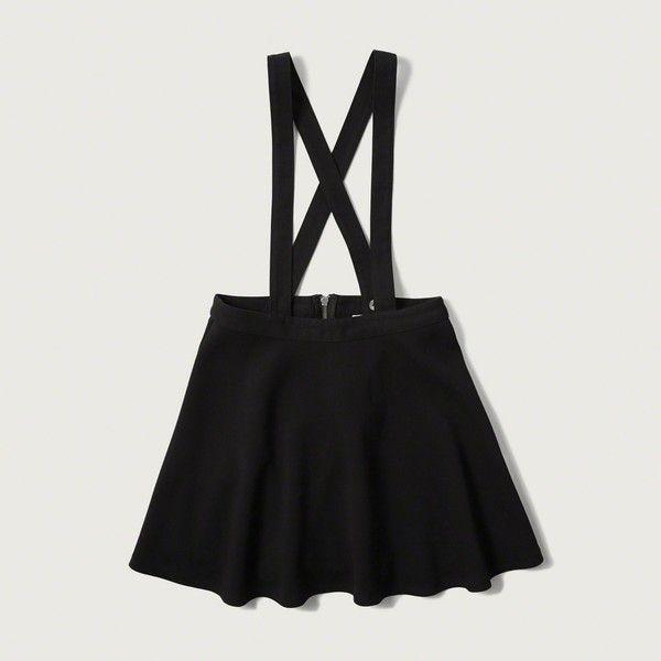Abercrombie & Fitch Suspender Skater Skirt ($48) ❤ liked on Polyvore featuring skirts, dresses, black, black skirt, circle skirt, black knee length skirt, abercrombie & fitch and skater skirt