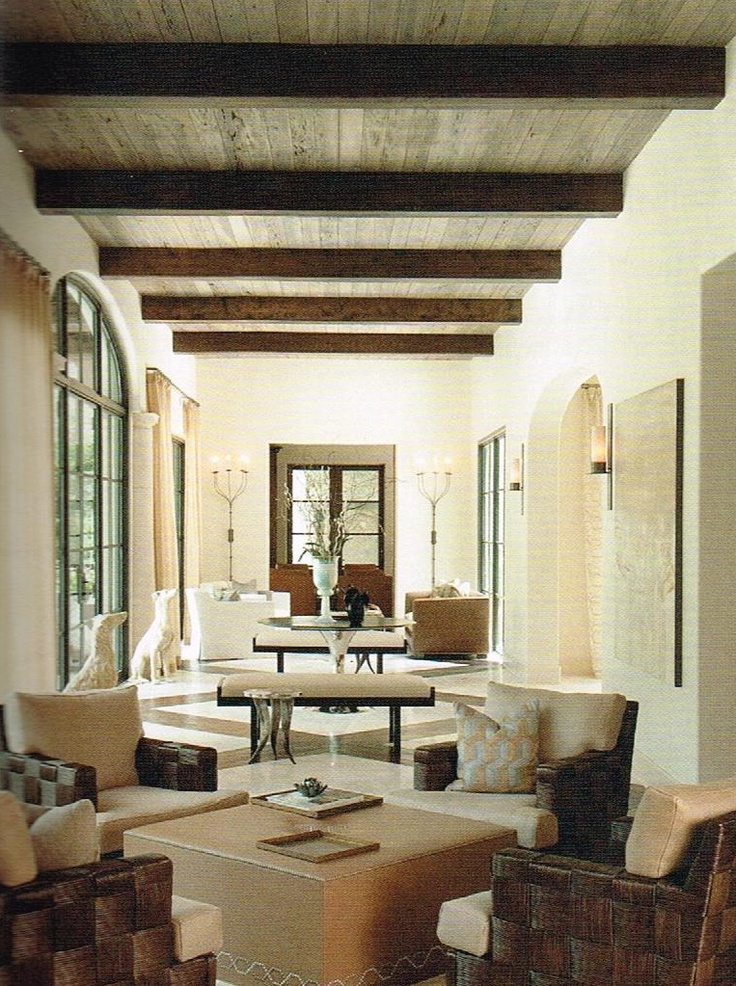 Wood Beams And Cyprus Tongue Groove Ceiling As Seen In Houston Luxe Magazine