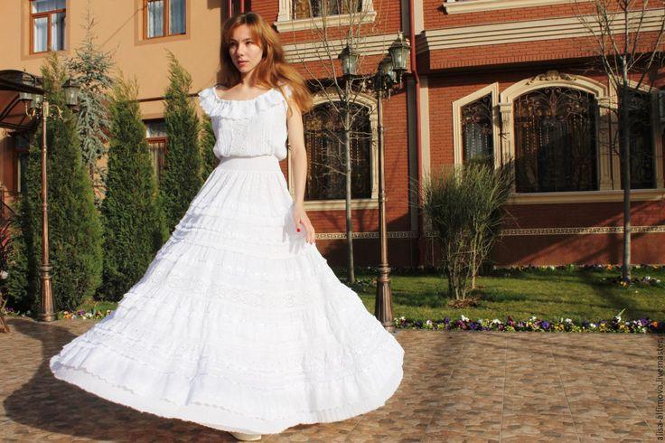 """Купить Шикарное платье """"White boho"""" - однотонный, Бохо платье, платье бохо"""