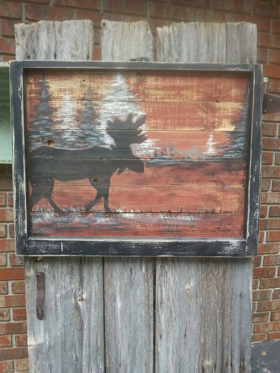 Window Frame Reclaimed Wood Hand Painted Moose by SippingIcedTea, $169.00