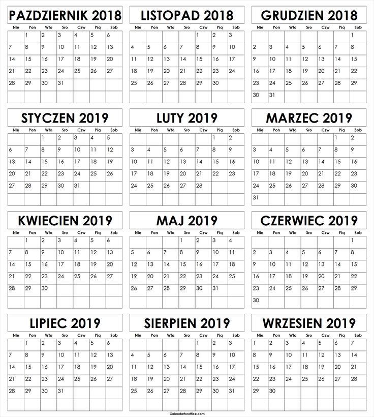 Październik 2018 Do Wrzesień 2019 Kalendarz Templates