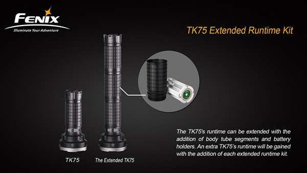 Fenix TK75 Extended Runtime Kit  Specifications:  Model: AER-TK75 Size: 100mm (length) x 52mm (diameter) Weight: 153g (excluding batteries)  Instructions:  Install the kit with the right direction An extra TK75's runtime will be gained with the addition of each extended runtime kit The use of more than 3 kits in one TK75 flashlight is not recommended #hidcanada #flashlights