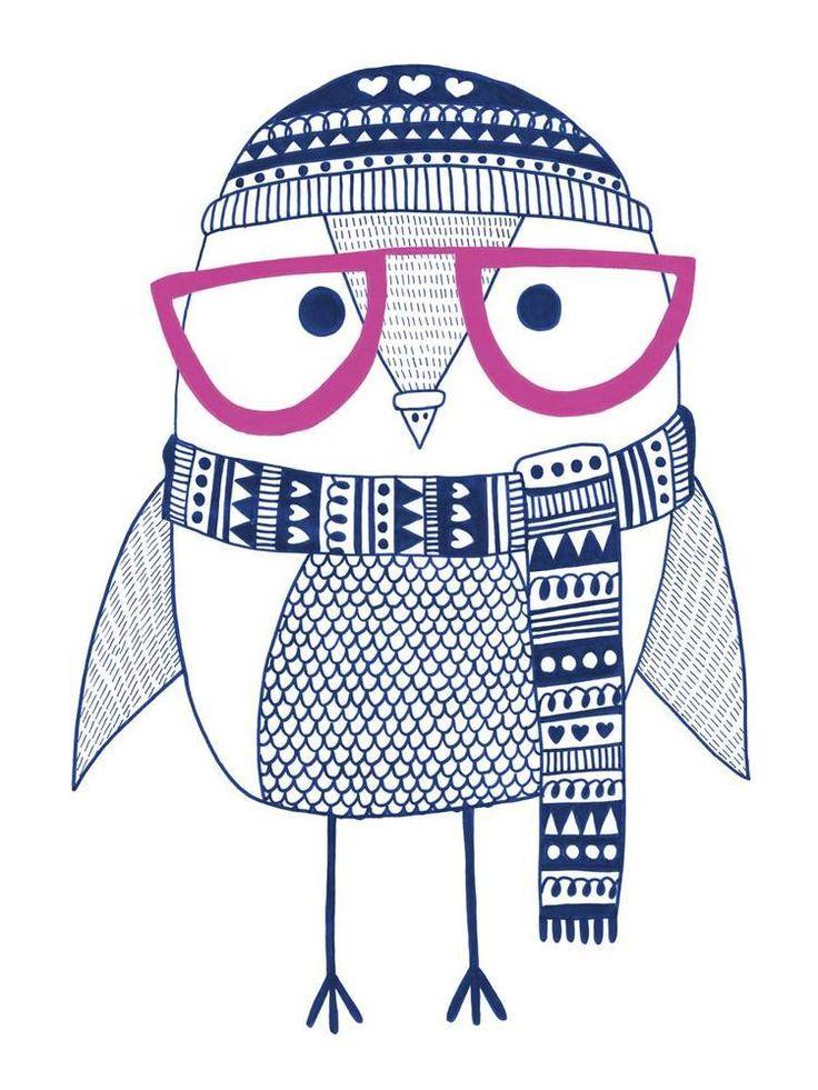 Hipster Owl: print by Heidi Suul Næss