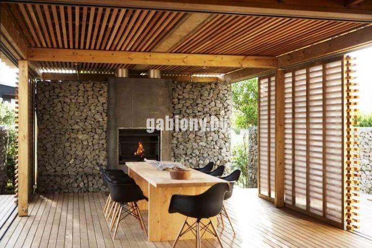 Идеи дизайна, обустройство зоны для отдыха из габионов.