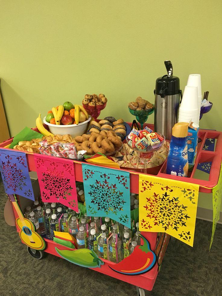 Cinco De Mayo snack cart pushed door to door for teachers and staff during teacher appreciation week!