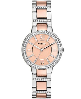 Fossil Watch, Women's Virginia Two-Tone Stainless Steel Bracelet 30mm ES3405 - Watches - Jewelry & Watches - Macy's