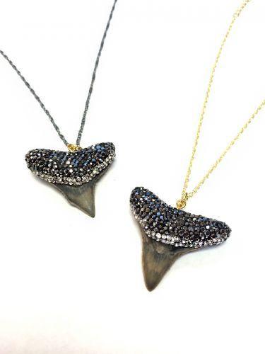 Black Shark Tooth Pendant with Swarovski Crystals