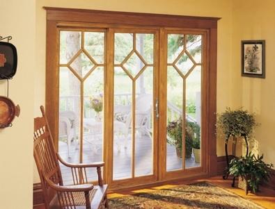 Marvin Door   Sliding Patio Door, Wood Interior; Douglas Fir Featuring A  Diamond Grille
