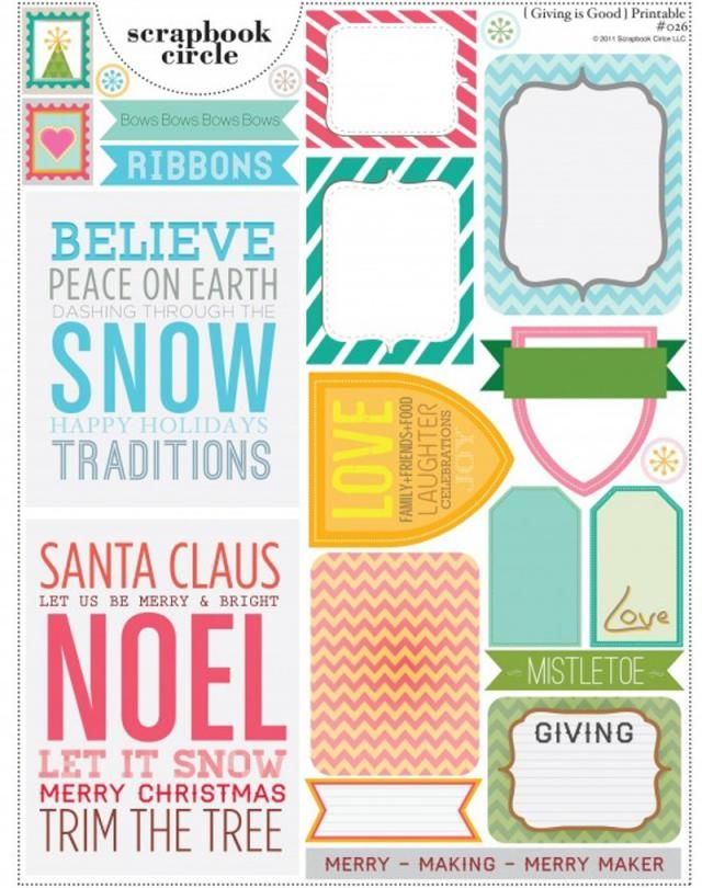 12 Free Christmas Printables and Project Life Cards for Scrapbooking: Scrapbook Circle Free Printables