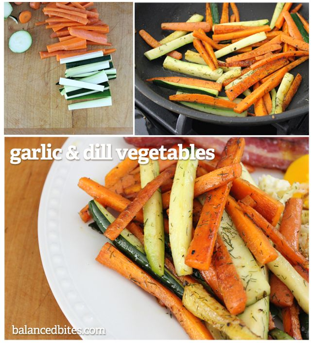 Garlic & Dill Vegetables Cooking carrots in a pan with sufficient fat and seasonings will allow them to brown just enough to caramelize and give them that deliciously roasted taste in less than half the time. Try this recipe with any root vegetables you like, or a mix of roots and any other crunchy veggies. #balancedbites #rootveggies #garlic #dill #roastedveggies