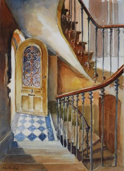 Charles Foster Hall, Paris Stairs 2, watercolor