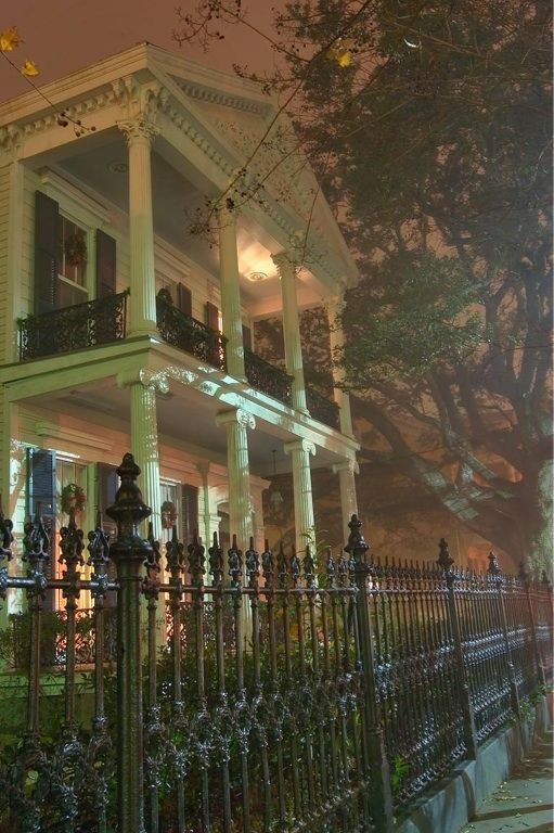 Louisiana Architecture. A Foggy night in New Orleans Garden District. Fabulous cast Iron fence.