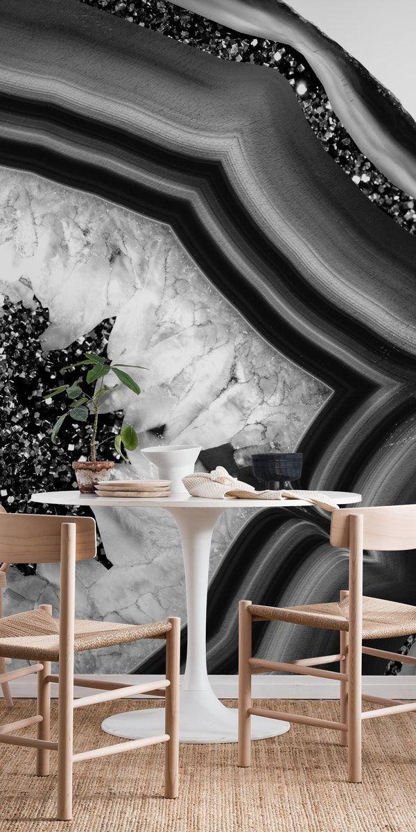 Bw Agate Black Silverglitter 1 Wall Mural Marble Wallpaper