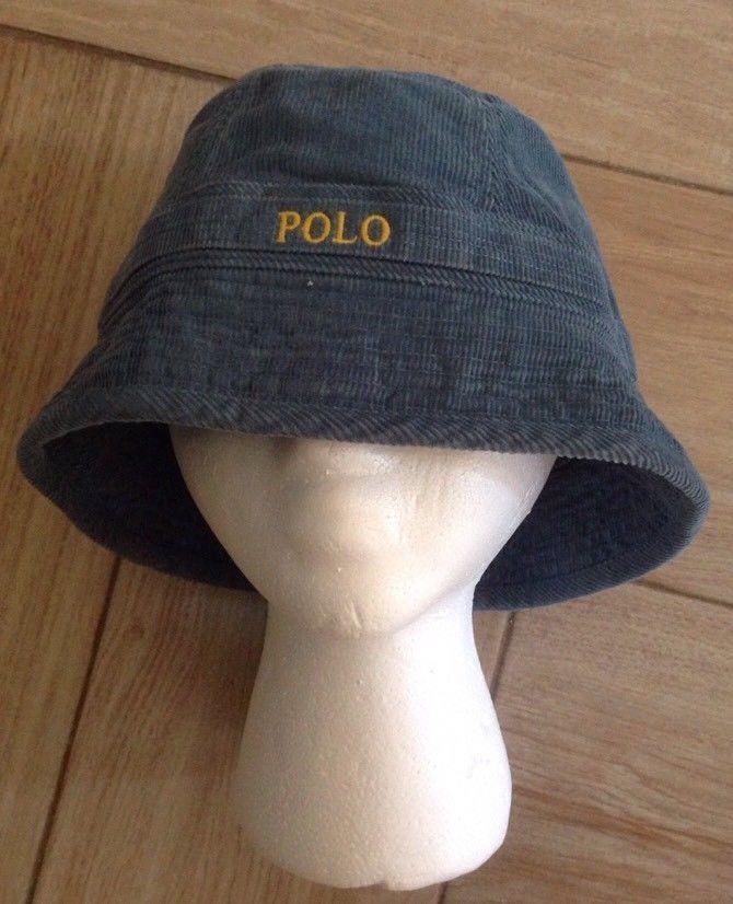 Vintage Polo Ralph Lauren Bucket Hat Sz S/M Blue Corduroy Fishing Cotton Rare #PoloRalphLauren #BucketHat