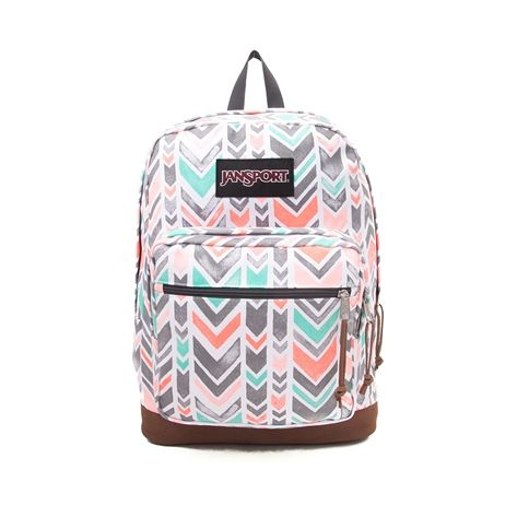 "Unzip your school savvy style with the new Right Pack Expressions Chevron Backpack from JanSport! The Right Pack Expressions backpack features vibrant chevron prints, signature suede leather bottom, internal laptop sleeve, and front organizer pocket. <b>Available for shipment in June; Only available at Journeys, SHI by Journeys and Underground by Journeys!</b>  <br><br><u>Details</u>:<br> > Zippered front stash pocket<br> > Internal padded sleeve provides protection for 15"" laptop<br> > One…"