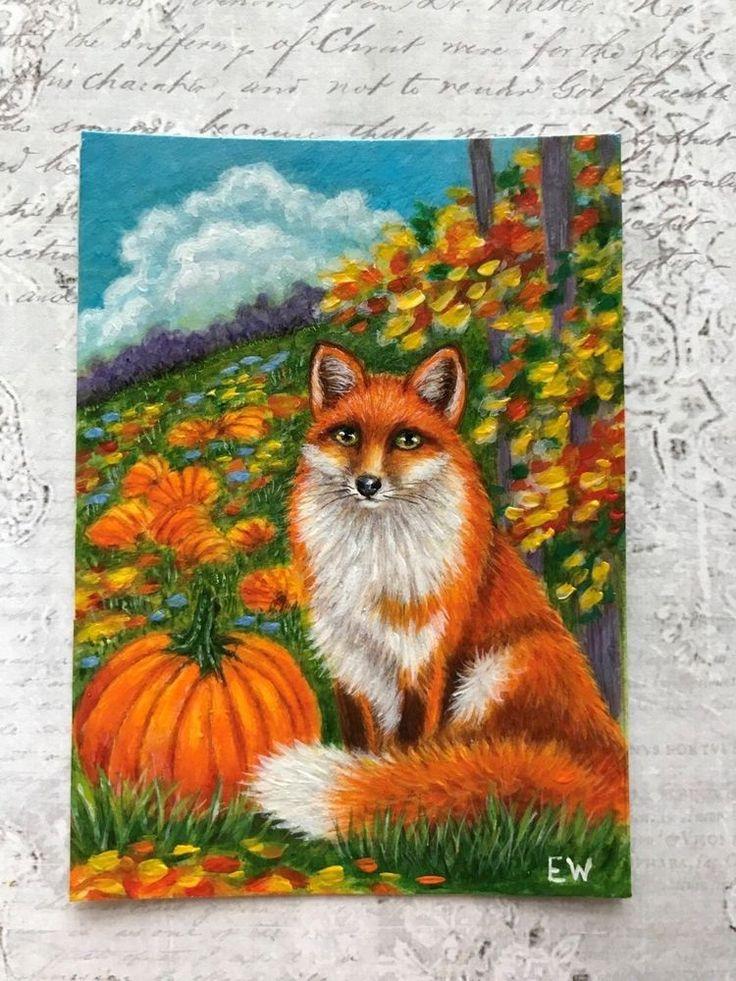ACEO original red fox pumpkins autumn thanksgiving painting art 2.5x 3.5 inches #Miniature
