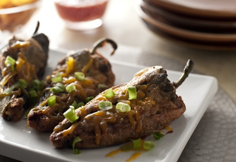 Flavorful baked chiles stuffed with an oozing cheese mixture...what could be better