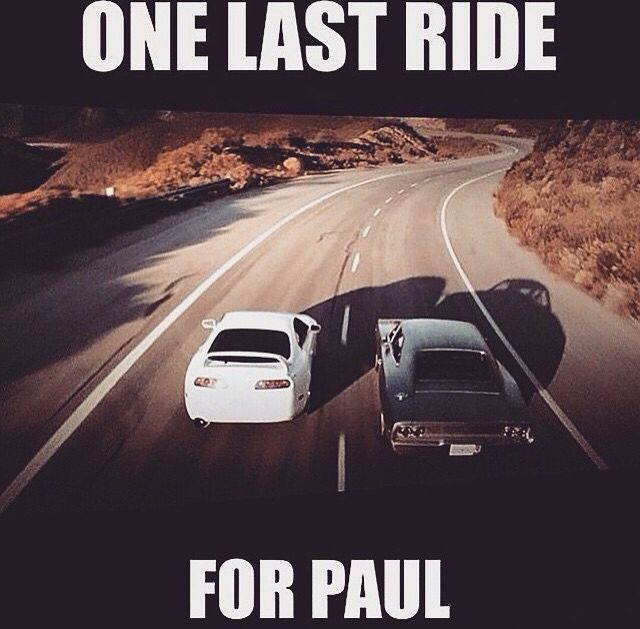 That last ride was his best. But the Fast & Furious series is not over yet. Bryan O'Connor moves on to family and the rest stick with the crew. That last 5 minutes was the best remembrance of Paul Walker I've ever seen. It brought a tear to my eye. Paul Walker was and still is a legend. My dream is to visit his grave and talk to him in spirit. He was and still is the most loved person. R.I.P. Paul Walker.
