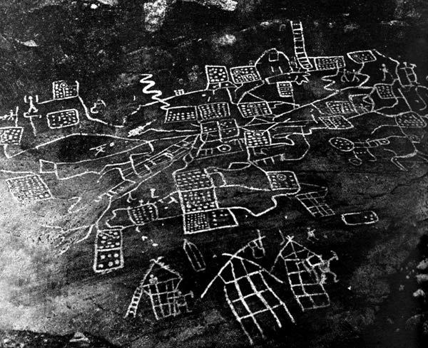 """Le """"cadastre de Belinda""""  Ces images gravées sur la roche dans le célèbre site de Val Camonina, en Italie du Nord, seraient-elles les traces du premier cadastre ? Quatre périodes au moins de gravure se superposent, et cette mystérieuse topographie apparaît sur la deuxième couche, voisinant avec des représentations de cervidés. S'il s'agit bien d'un premier vocabulaire topographique, nous ne savons pas le lire."""