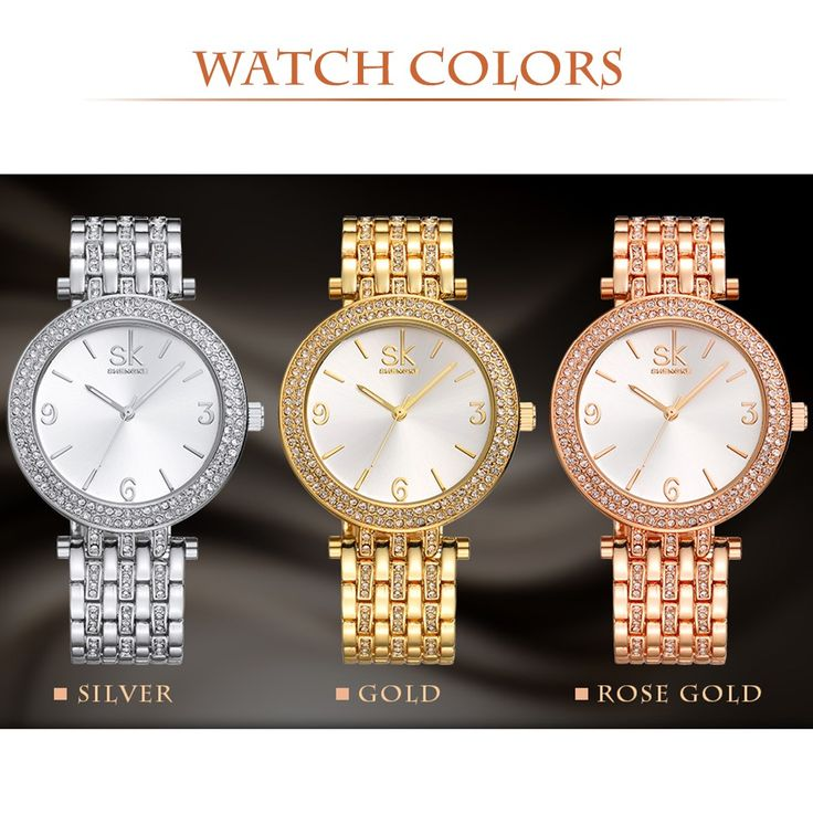 Only US$14.49, rose gold SK Brand Luxury Rhinestone Steel Women Watches 3ATM - Tomtop.com