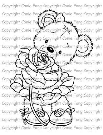 Sello digital, sello de Digi, Digistamp, Bella con la rosa por Conie Fong, página para colorear, oso de peluche, amor, San Valentín, haz…
