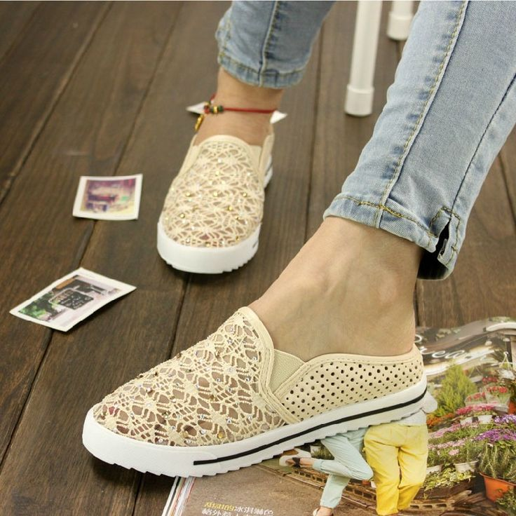 Aliexpress.com : Buy 2013 summer flat bottomed comfortable rhinestone all  match gauze cutout toe