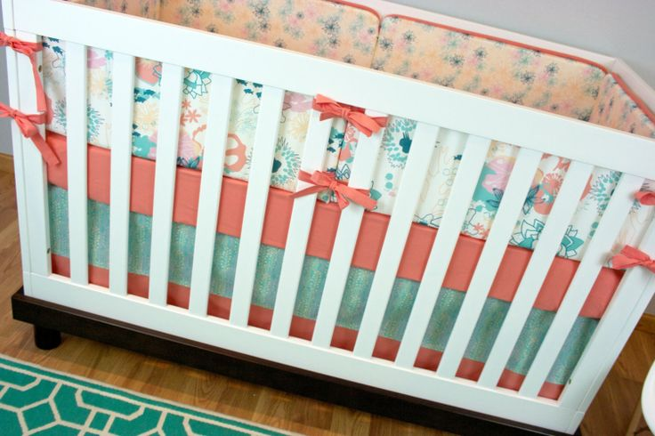 Crib Bedding Set Girl, Nursery Bedding, Ocean Theme, Coral