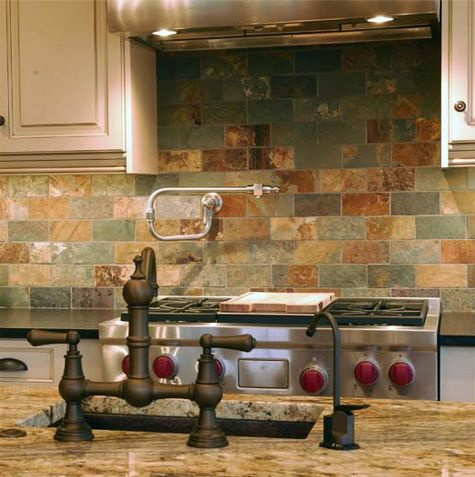 Stone Kitchen Backsplashes Made of Granite, Marble, Slate, Travertine, Limestone, Soapstone and CaesarStone