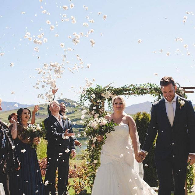 Zoe and Todd's ceremony with our large wooden arch