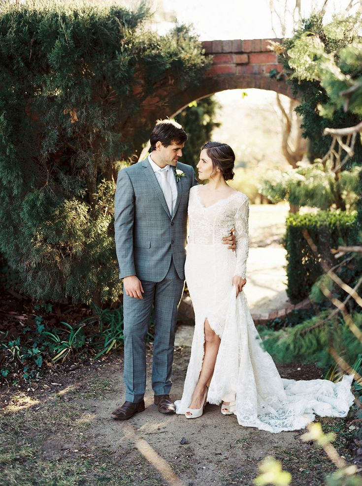 Long Sleeve Wedding Dress with a Slit for a Winter Wedding