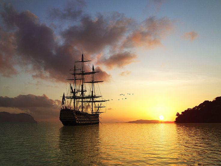 Setting Sun And Sailing Ship (id: 184284) | Buzzerg.com