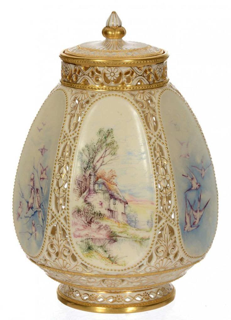 GORGEOUS ROYAL WORCESTER PORCELAIN SIX-SIDED POTPOURRI JAR ~ HAND DECORATED SCENES FEATURE COTTAGE, BIRDS AND MORE ~ COMPLETELY RETICULATED
