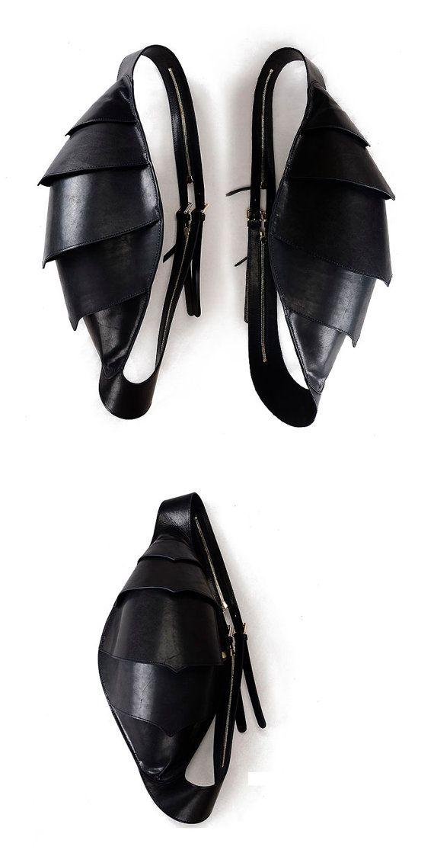 Leather Messenger Backpack Men's Messenger Bag Black por KiliDesign