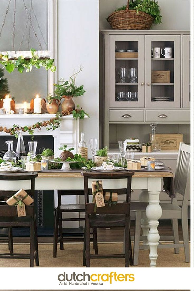 Amish Pine Wood Farmhouse Hutch Dining RoomsWhite