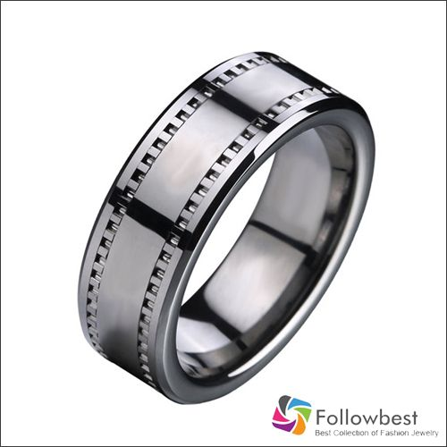 Online Shop 8mm Comfort Fit Movie Film tape Tungsten carbide Ring Wedding Band Men's Women's Wedding Band All size 5-12 Free Shipping|Aliexpress Mobile