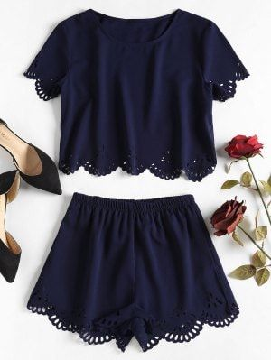 Laser Cut Top Shorts Two Piece Set - Deep Blue S 11