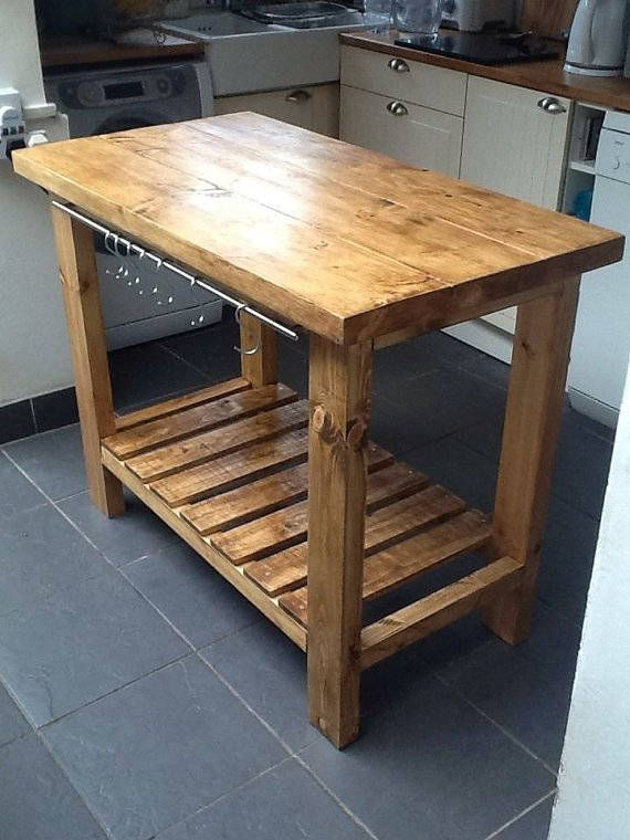 Kitchen Island Table Butcher Block With Storage Shelf And A Etsy