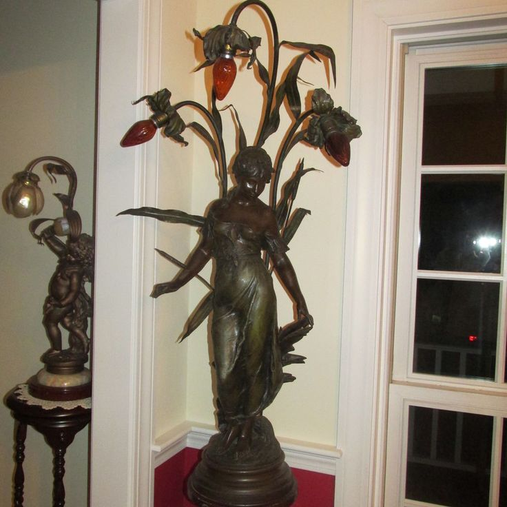Antique Art Nouveau Bronze Spelter French Figural Semi