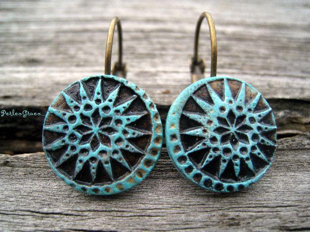 Ohrhänger - Sonne & Mond Keramik Ohrringe türkis vintage - ein Designerstück von PerlenGruen bei DaWanda