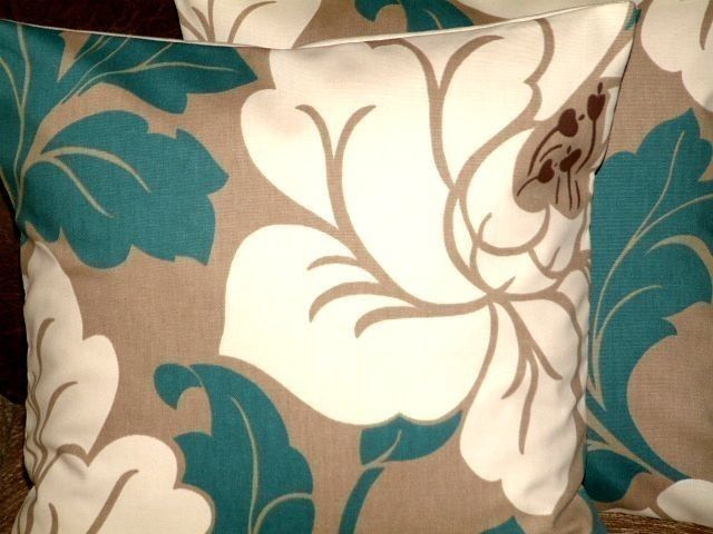 "2  16"" Contemporary Modern Teal Jade Cream Brown Design Designer Funky Cushion Covers,Pillow cases,Pillow Covers,Pillow - $27 - so far Iove this the best! matches lamp shade and has brown tones to go with couches"
