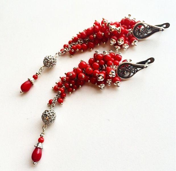 """Купить Серьги """"Simply red"""" - ярко-красный, коралловые серьги, длинные серьги, красные серьги"""