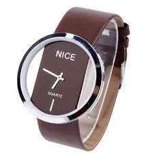 Transparent Dial Faux Leather Wrist Watch (Coffee)