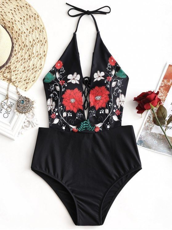 895f96e0c97a Up to 80% OFF! Floral Lattice Front High Waisted Swimwear.  Zaful ...