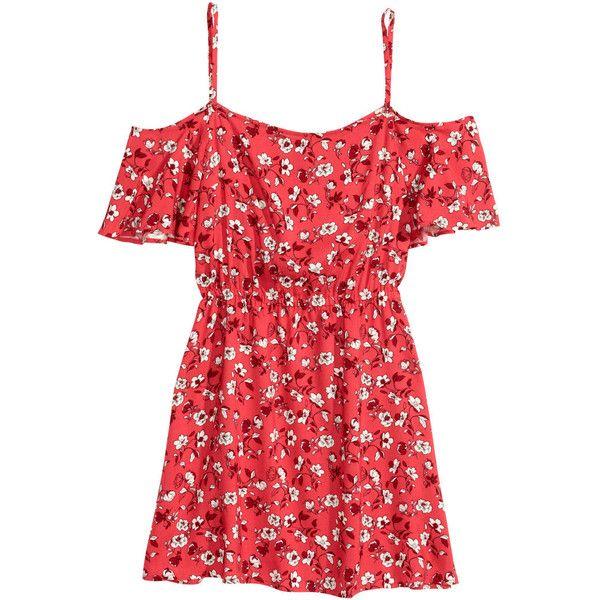 Off-the-shoulder Dress $17.99 ($18) ❤ liked on Polyvore featuring dresses, vestidos, short dresses, cold shoulder dress, mini dress, red mini dress and cut out shoulder dress