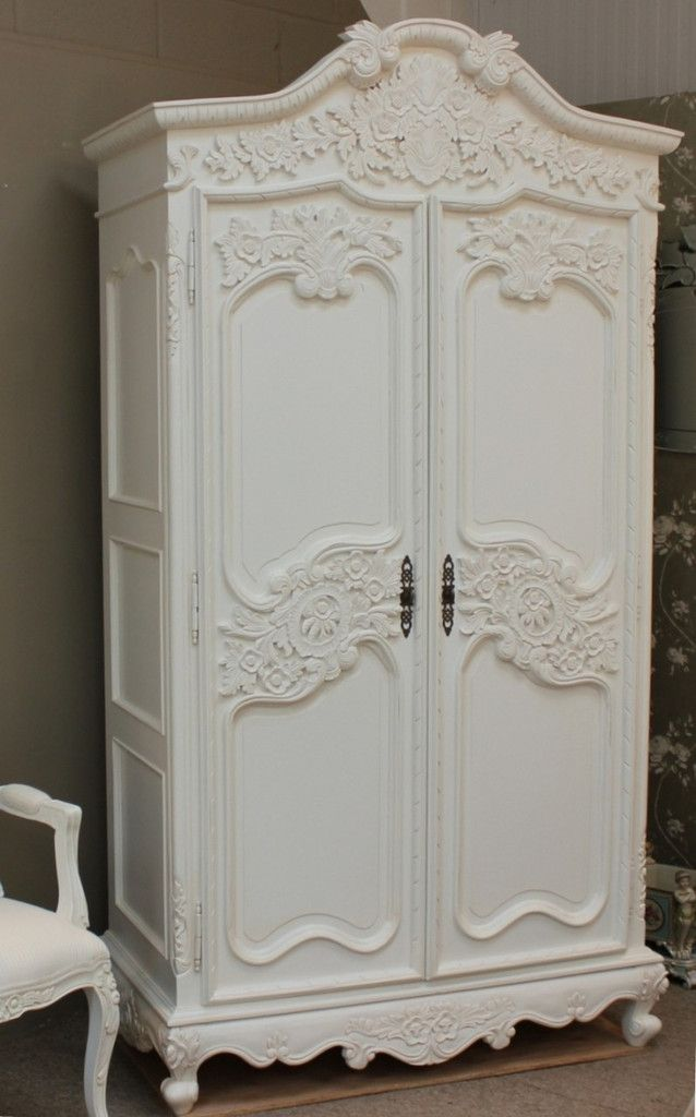French Chateau Carved Armoire With 6 Drawers A super lovely Shabby Chic Armoire beautifully carved.  View more from our collection.  TAKE ADVANTAGE OF OUR EASTER SALE DISCOUNTS March 25-March 30th 2016