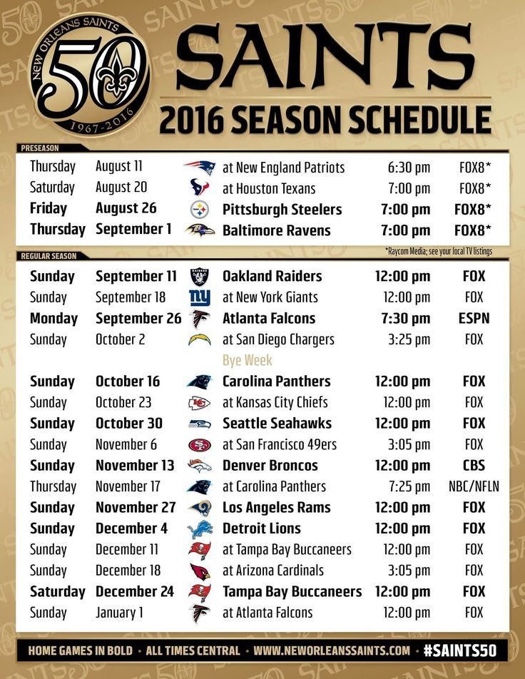 2016 New Orleans Saints Schedule WHO DAT!!
